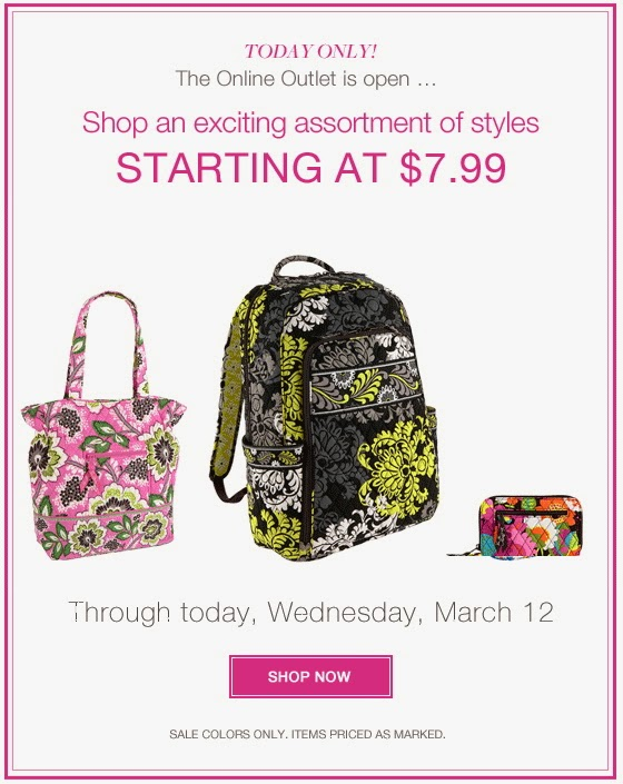 3a8c1738f1 Vera Bradley 2014 Outlet Sale  Prices Starting at 7.99