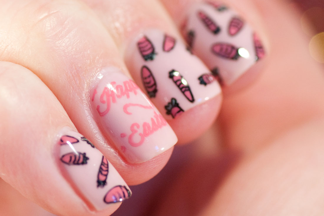 Easter Nail Art stamped with MoYou Festive plate 14 carrot and Happy Easter text