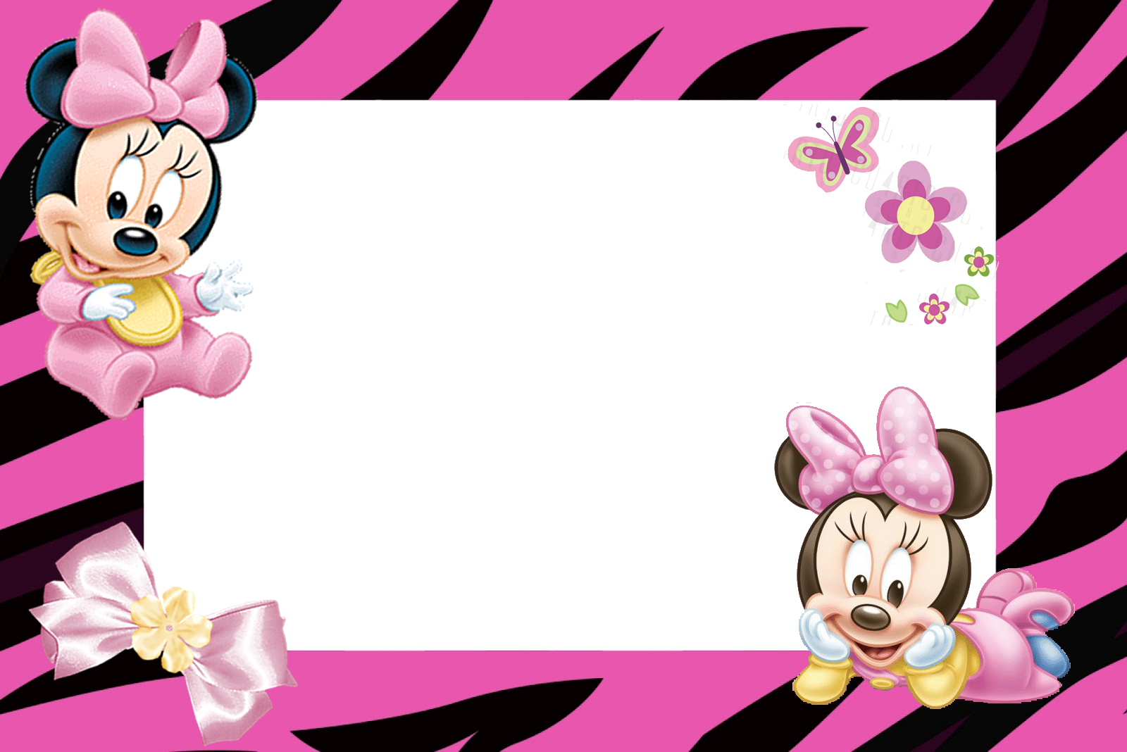 Minnie Zebra in Pink Free Printable Invitation and Straw Ornament.