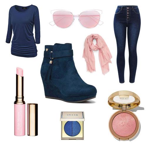 outfit con botines de cuña y pantalones en azul y rosa