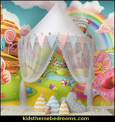Children Play Tent Indoor Dome  Round Mosquito Net Wall Hanging Bed Canopy cupcakes bedroom ideas - cupcakes theme candy decorating candyland sweets - cupcake bedding - cupcake decor - candy decor -  Ice Cream decor - cupcakes and candy bedroom ideas - candy theme bedroom - cupcakes and candy decor - Candy party props - Candy party decorations - candyland gingerbread decorations