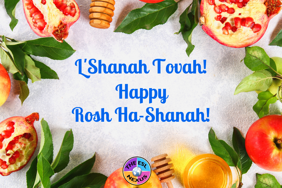 Apples and honey with pomegranates and the phrase L'Shanah Tovah happy Rosh Hashanah!