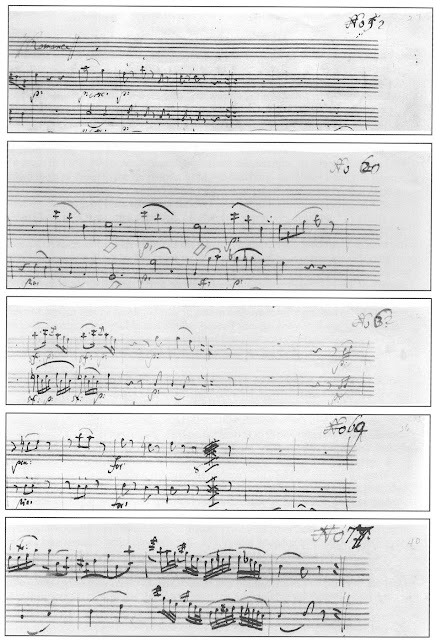 """A page from Daniel Leeson's """"gran Partita"""" which has detail images from five pages of the manuscript; in the upper right hand of teach recto displayed is a written over number:  """"No. 1,"""" """"No. 2,"""" etc.  These appear on the first page of five successive fascicles."""