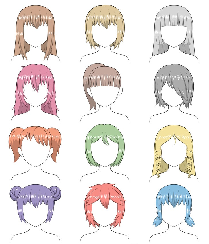 Anime shading gaya rambut yang berbeda