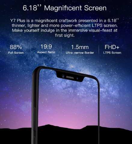DOOGEE Y7 Plus smartPhone fhd 6GB 64GB octa-core 16MP-13MP cameras