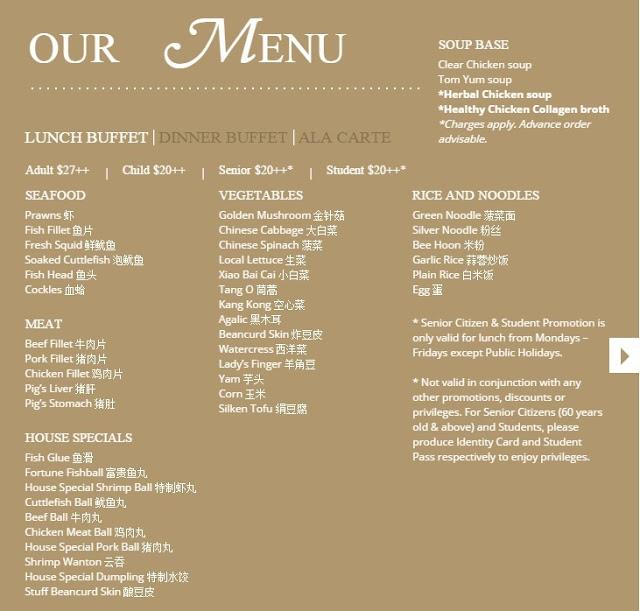 Ebony lunch buffet menu
