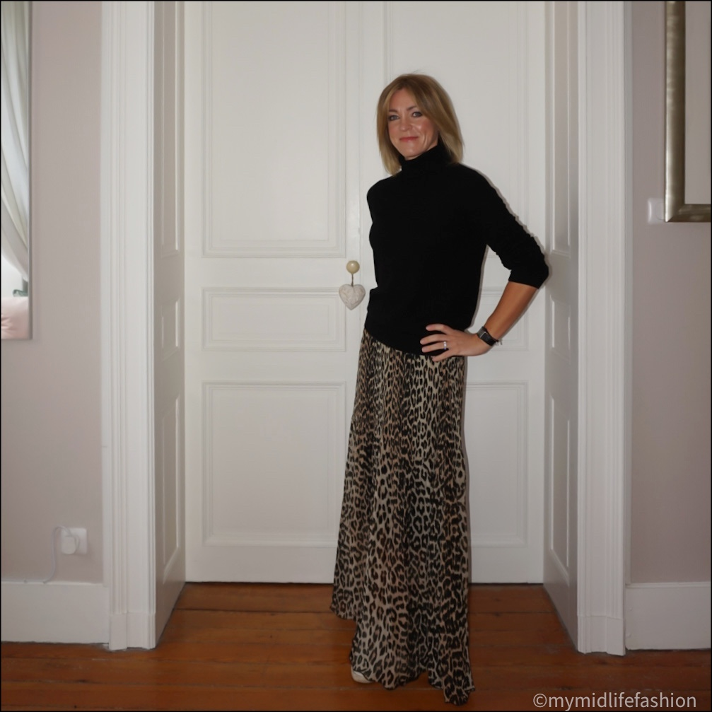 my midlife fashion, marks and Spencer pure cashmere roll neck jumper, ganni Leopard print maxi skirt, golden goose superstar low top leather trainers