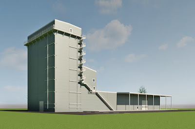 Illustration av den nya fabriksbyggnaden