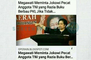 [CEK FAKTA] Megawati Minta Jokowi Pecat Anggota TNI yang Razia Buku Berbau PKI