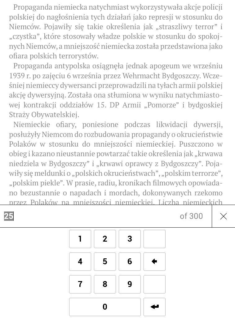 PocketBook Aqua 2 – wybieranie numeru strony