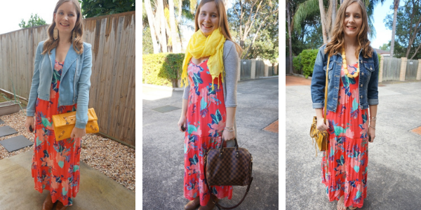 3 different ways to wear yellow with a coral printed floral maxi dress away from blue