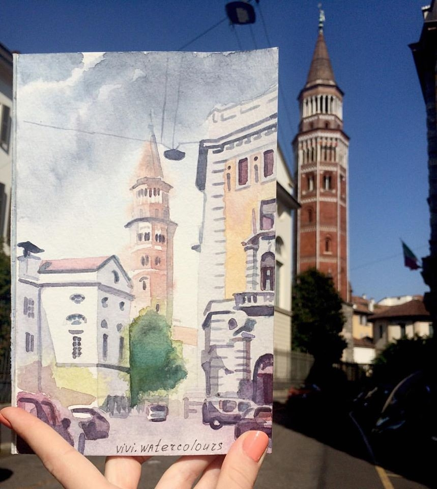 06-Bell-Tower-in-Saint-Gottardo-in-Corte-Viktoria-Kravchenko-Architecture-Student-Paints-City-Scenes-Watercolors-www-designstack-co