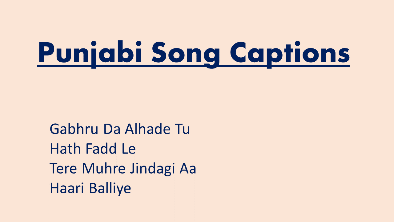 Punjabi Song Captions