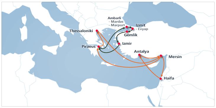 East Mediterranean 1 | Hanjin Shipping