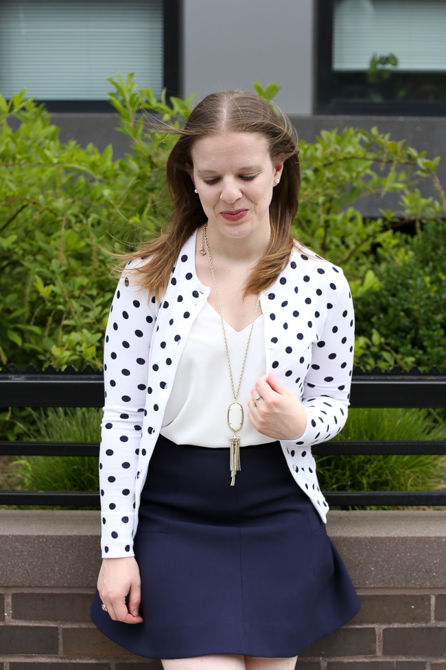 The Polka Dot Cardigan | Something Good, j.crew factory skirt