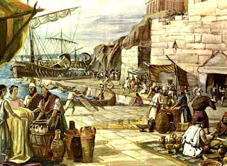 Expedición comercial tiria, ofreciendo sus productos