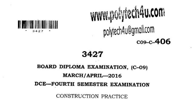 SBTET AP CONSTRUCTION PRACTICE PREVIOUS QUESTION PAPER