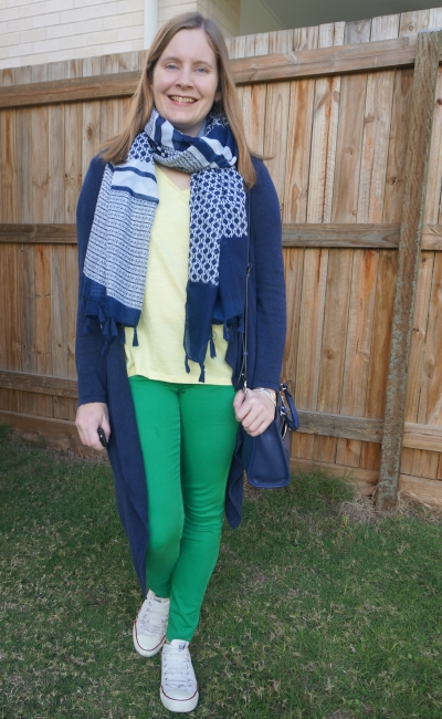 yellow tee with green skinny jeans navy cardigan and accessories scarf and bedford bag | away from the blue