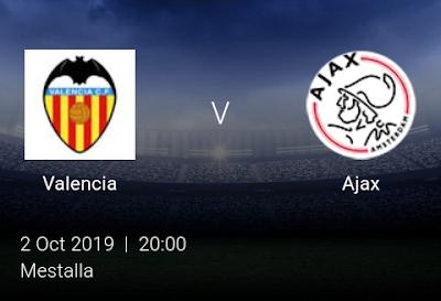 LIVE MATCH: Valencia Vs Ajax UEFA Champions League 02/10/2019