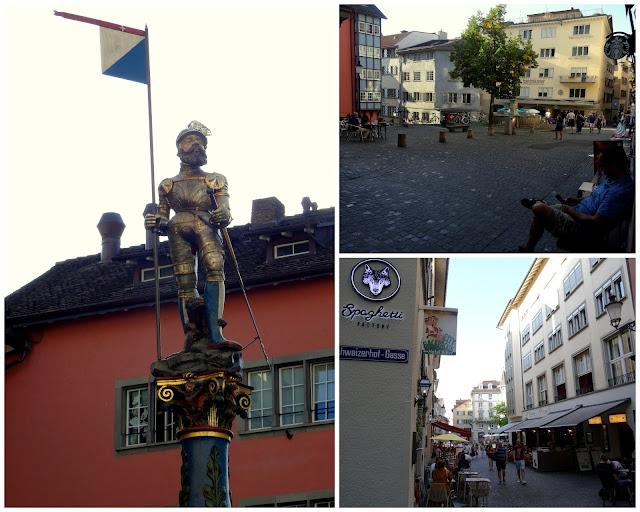 Stussihofstatt statue fountain Niederdorf Quarter, Zurich Old Town