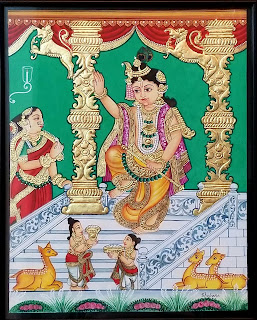 Traditional Mysore Paintings by Shobana Udayasankar, Krishna, Indian Art Scene