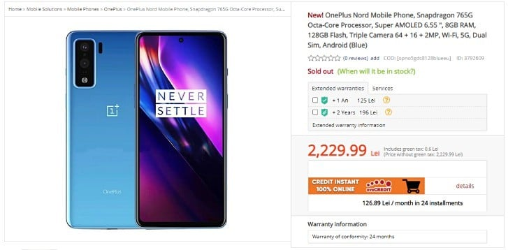 The online store publishes specifications and prices for OnePlus Nord