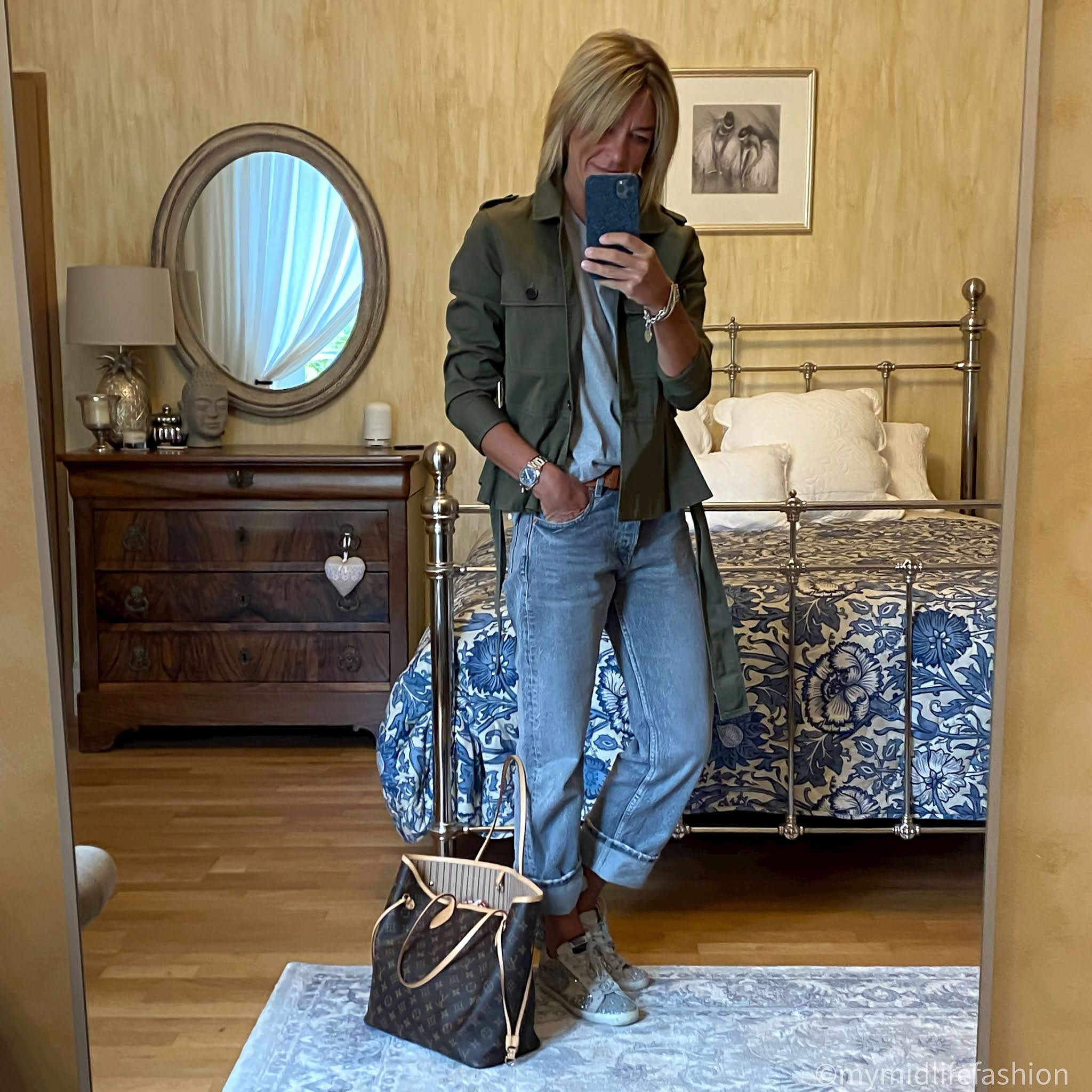my midlife fashion, J crew shacket, Joseph crew neck t-shirt, zara low rise straight leg jeans, golden goose superstar low top leather trainers, Louis Vuitton never full bag