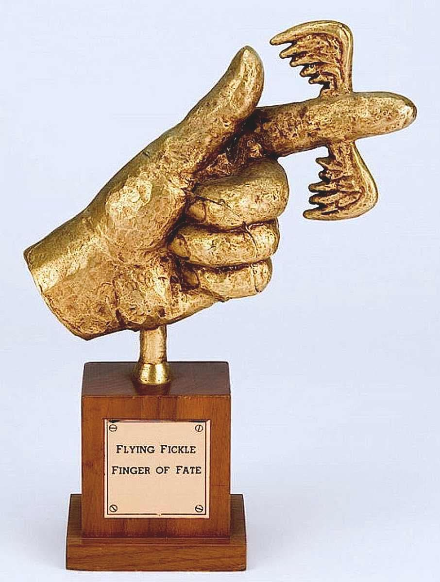 the Flying Fickle Finger of Fate award, a color photograph