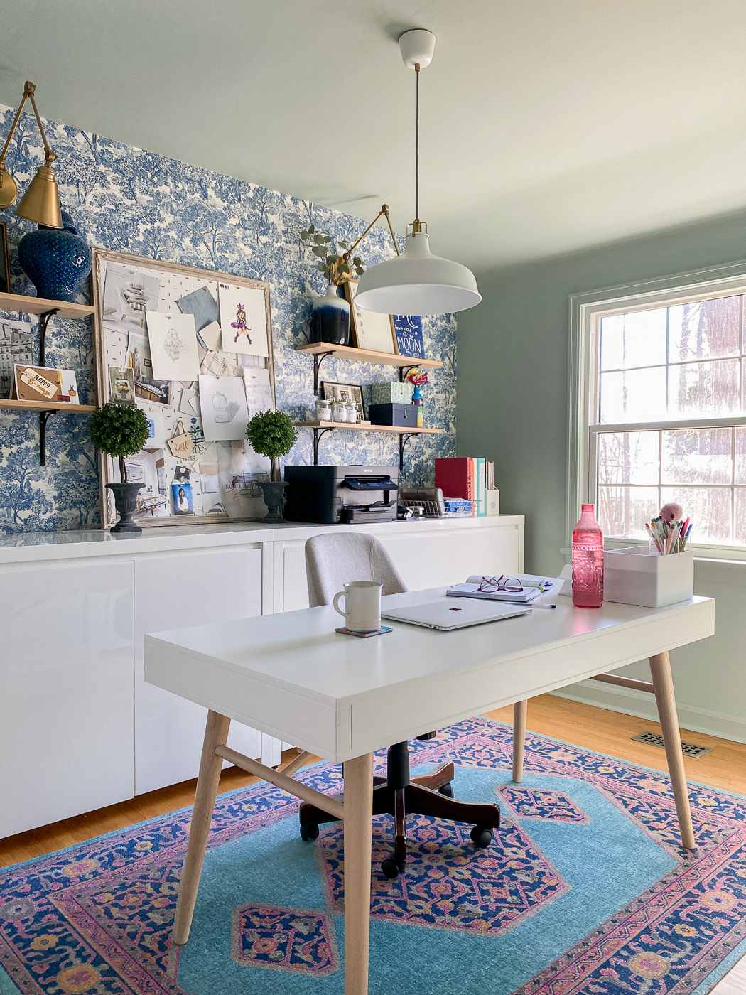 colorful home office, feminine home office, green home office