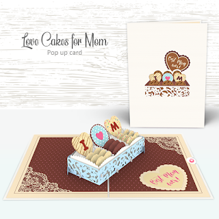 Pop Up Card 3D - Love Cakes For Mom