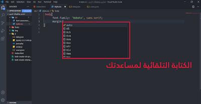 الكتابة التلقائية فيجوال ستوديو كود Visual Studio Code