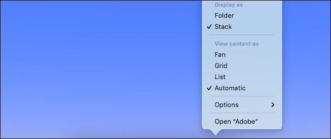 تغيير إعدادات العرض للمجلد في Mac dock