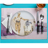 set de table avec les décors et personnages de Star Wars