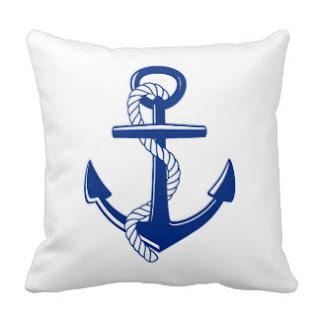 Blue anchor throw pillow