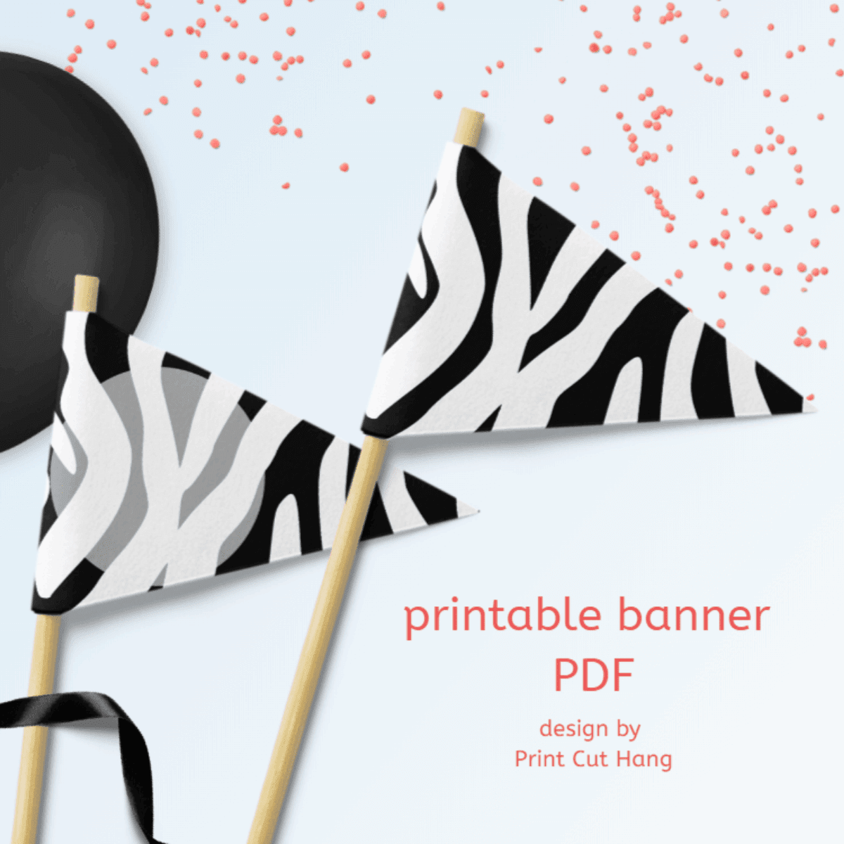 Black and White Zebra Banner
