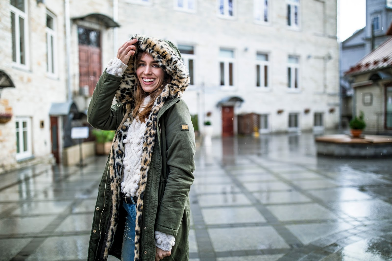 green leopard faux fur parka jacket