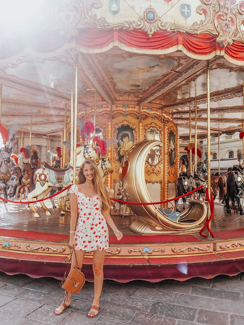Florence Italy Red Carousel in Summer