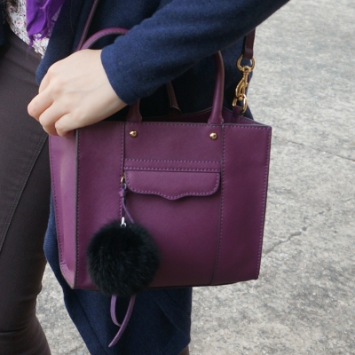 Rebecca Minkoff mini MAB tote in plum with faux fur pom pom | awayfromtheblue