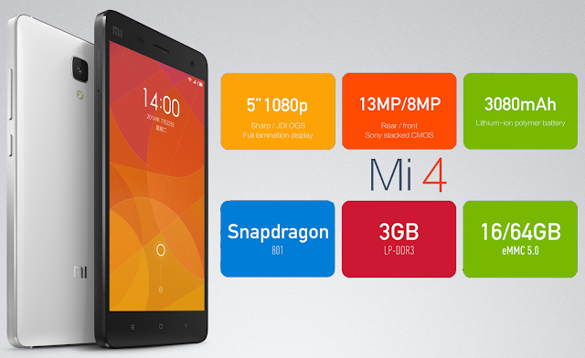 "Xiaomi Mi 4 LTE Specifications LAUNCH Announced 2014, December DISPLAY Type IPS LCD capacitive touchscreen, 16M colors Size 5.0 inches (~72.3% screen-to-body ratio) Resolution 1080 x 1920 pixels (~441 ppi pixel density) Multitouch Yes BODY Dimensions 139.2 x 68.5 x 8.9 mm (5.48 x 2.70 x 0.35 in) Weight 149 g (5.26 oz) SIM Micro-SIM PLATFORM OS Android OS, v4.4.3 (KitKat) CPU Quad-core 2.5 GHz Krait 400 Chipset Qualcomm MSM8974AC Snapdragon 801 GPU Adreno 330 MEMORY Card slot Card slot No Internal 16 GB, 3 GB RAM CAMERA Primary 13 MP, f/1.8, autofocus, LED flash Secondary 8 MP, f/1.8, 1080p@30fps Features 1/3"" sensor size, 1.12µm pixel size, geo-tagging, touch focus, face/smile detection, panorama, HDR Video 2160p@30fps, 1080p@30fps, 720p@120fps, HDR NETWORK Technology GSM / HSPA / LTE 2G bands GSM 850 / 900 / 1800 / 1900 3G bands HSDPA 850 / 900 / 1900 / 2100 4G bands LTE - international model Speed HSPA 42.2/5.76 Mbps, LTE Cat4 150/50 Mbps GPRS Yes EDGE Yes COMMS WLAN Wi-Fi 802.11 a/b/g/n/ac, dual-band, Wi-Fi Direct, DLNA, hotspot Infrared Port Yes GPS Yes, with A-GPS, GLONASS, BDS USB microUSB v2.0, USB Host Radio FM radio Bluetooth v4.0, A2DP FEATURES Sensors Sensors Accelerometer, gyro, proximity, compass, barometer Messaging SMS(threaded view), MMS, Email, Push Mail, IM Browser HTML5 Java No SOUND Alert types Vibration; MP3, WAV ringtones Loudspeaker Yes 3.5mm jack Yes BATTERY  Non-removable Li-Ion 3080 mAh battery Stand-by  Talk time  Music play  MISC Colors White SAR US - MIUI 5.0 - Fast battery charging: 60% in 30 min (Quick Charge 2.0) - Active noise cancellation with dedicated mic - MP4/DivX/XviD/WMV/H.264 player - MP3/WAV/eAAC+/FLAC player - Photo/video editor - Document viewer"