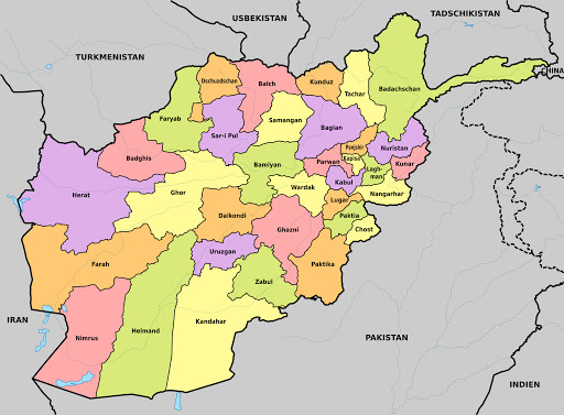 Afghanistan Map with Cities