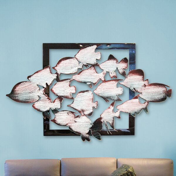 School of Fishes in Frame Wooden Wall Decor