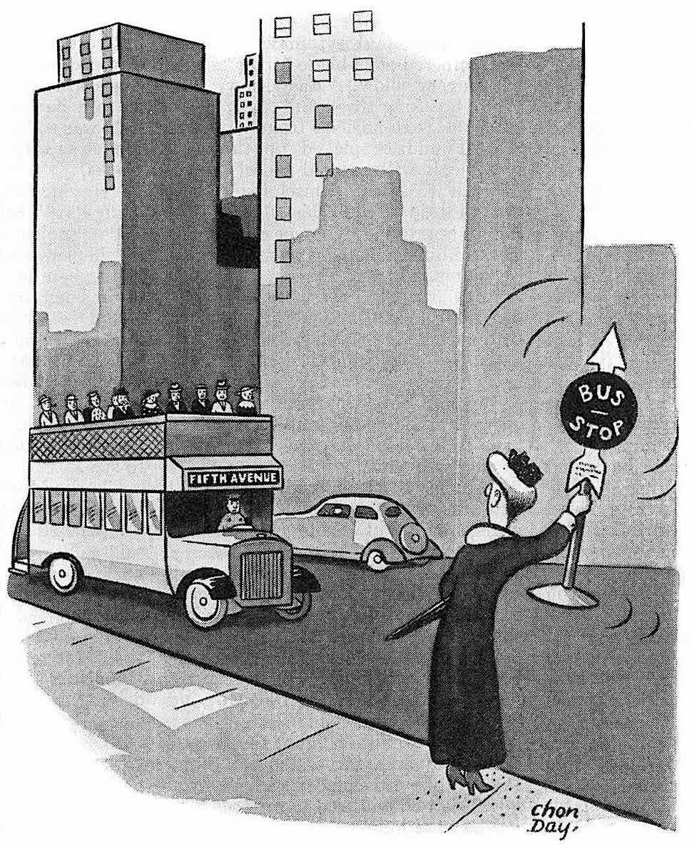 a 1937 cartoon about a senior woman waving an entire bus stop sign to hail a bus