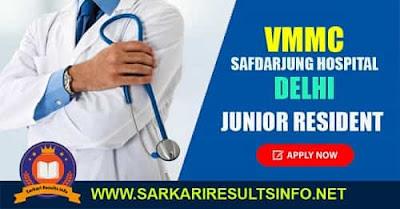 Safdarjung Hospital-VMMC Delhi Junior Resident 282 Posts 2020: The Medical Superintendent, Safdarjung Hospital, New Delhi invites applications for the post of Junior Resident
