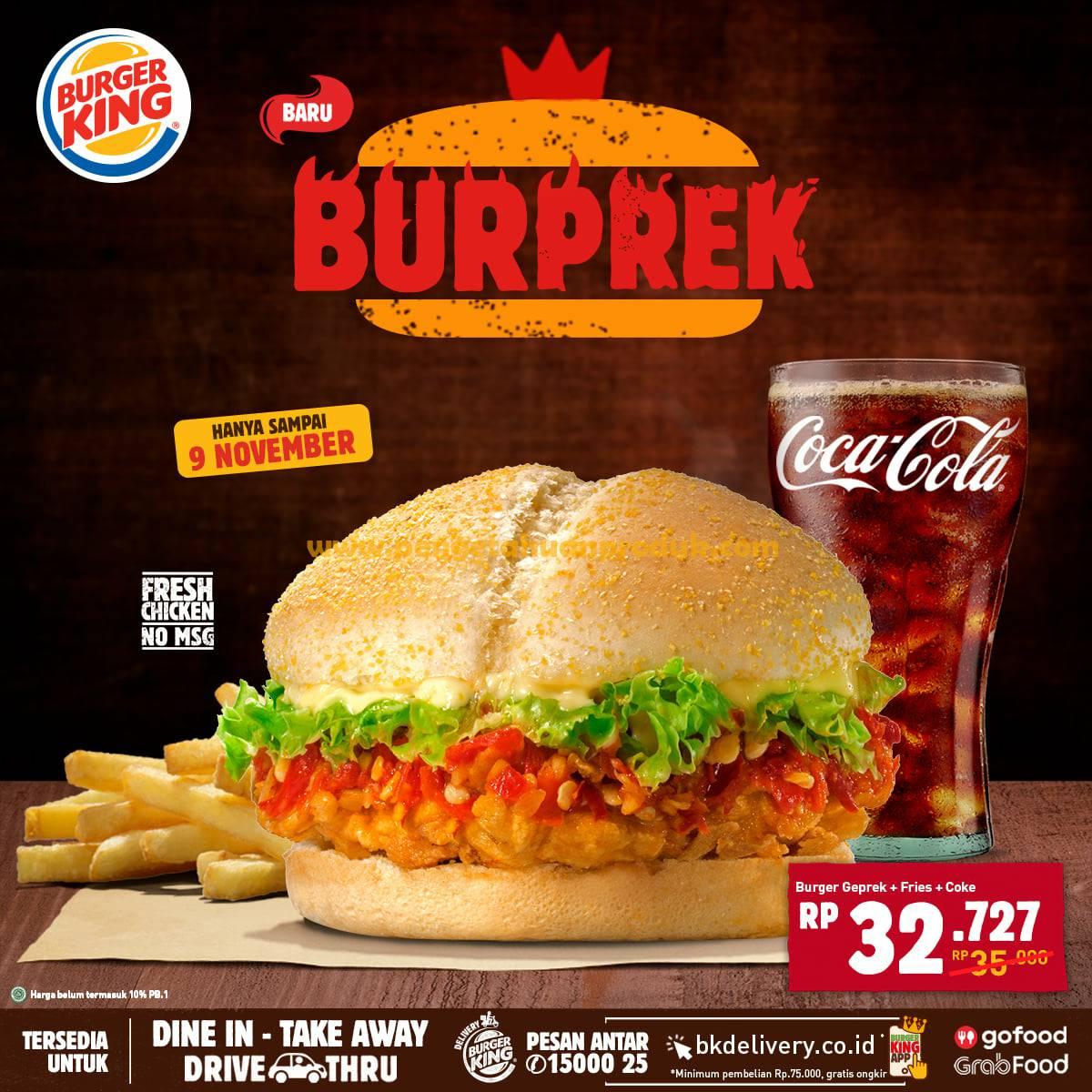 Promo Burger King Paket BUPREK 2 Burger Geprek cuma 40RB