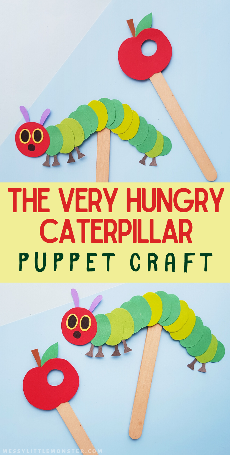 The Very Hungry Caterpillar Craft for toddlers and preschoolers. A fun and easy paper puppet craft for kids.