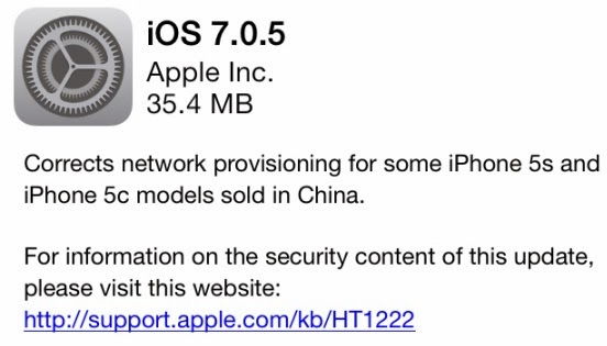 Apple iOS 7.0.5 Firmware Changelog