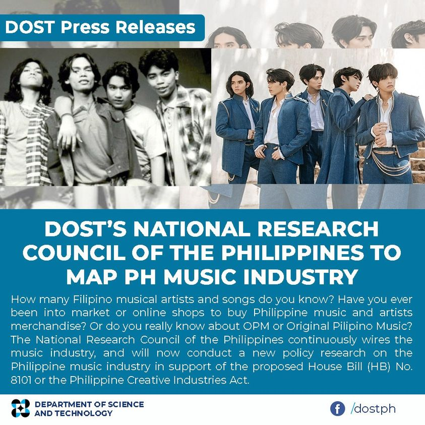 DOST's National Research Council of the Philippines to map PH music industry