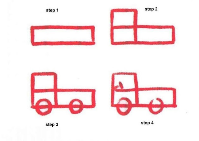 Learn to draw a pick up car for kids
