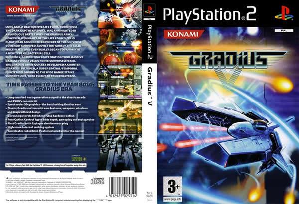 Descargar Gradius V para PlayStation 2 en formato ISO región NTSC y PAL en Español Multilenguaje Enlace directo sin torrent. El juego destaca por su gran mejora gráfica, jugabilidad expandida, y, sobre todo, por ser menos frustante para el jugador.