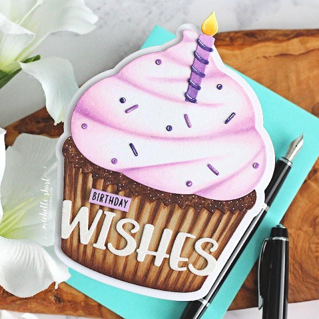 Sunny Studio Stamps: Cupcake Shaped Die Chloe Alphabet Dies Birthday Card by Michelle Short